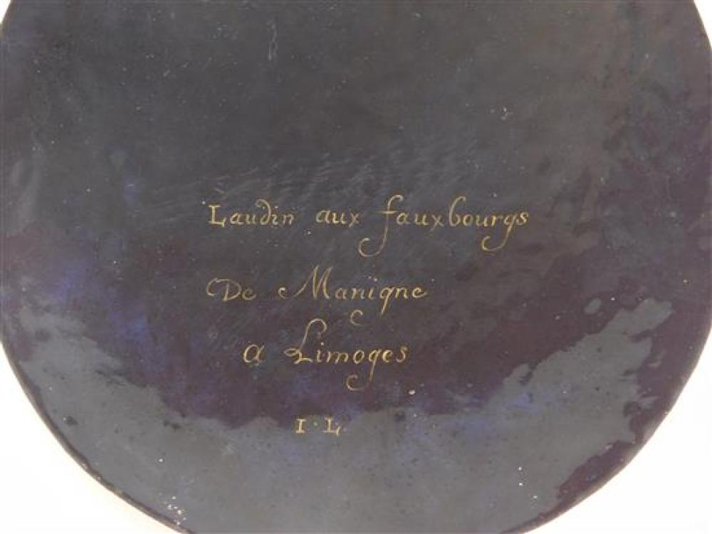 """Limoges enamel on copper plaque, French, Virgin and Child, inscribed verso, oval, 8"""" h."""