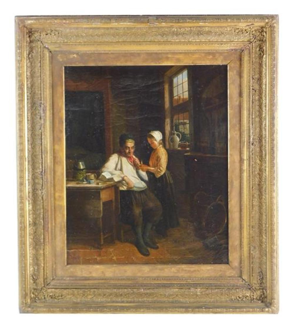 19th C. Dutch interior scene, oil on canvas, depicts young girl lighting her father's pipe, illegible signature LL, framed, not exam..