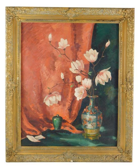 Dorothy Tuma (American, 20th Century), oil on canvas, depicts still life with Oriental vase, pink flowers, and red drapery, signed L...