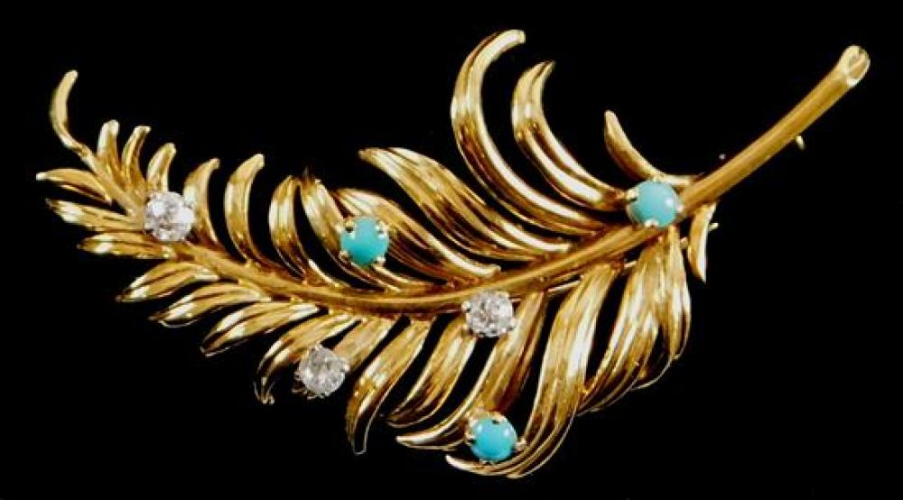 JEWELRY: 18K Turquoise and Diamond Brooch, tested 18K yellow gold feather design brooch, Length: 2 ¼ inches, pin is stamped with a F...