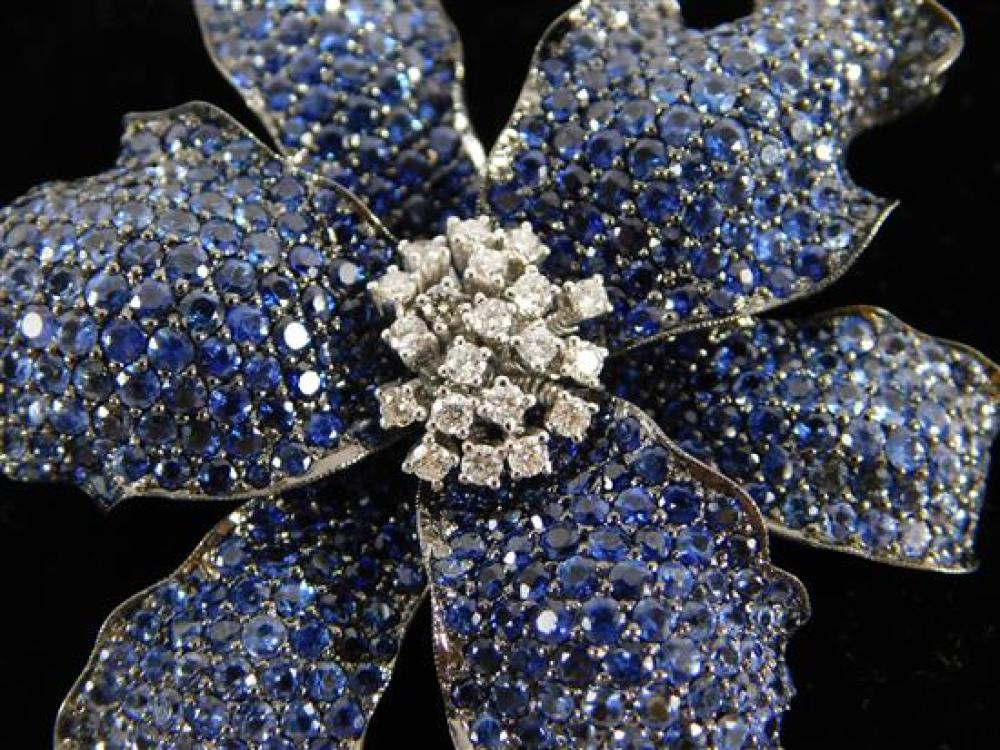 JEWELRY: 18K Sapphire and Diamond Brooch: stamped and tested