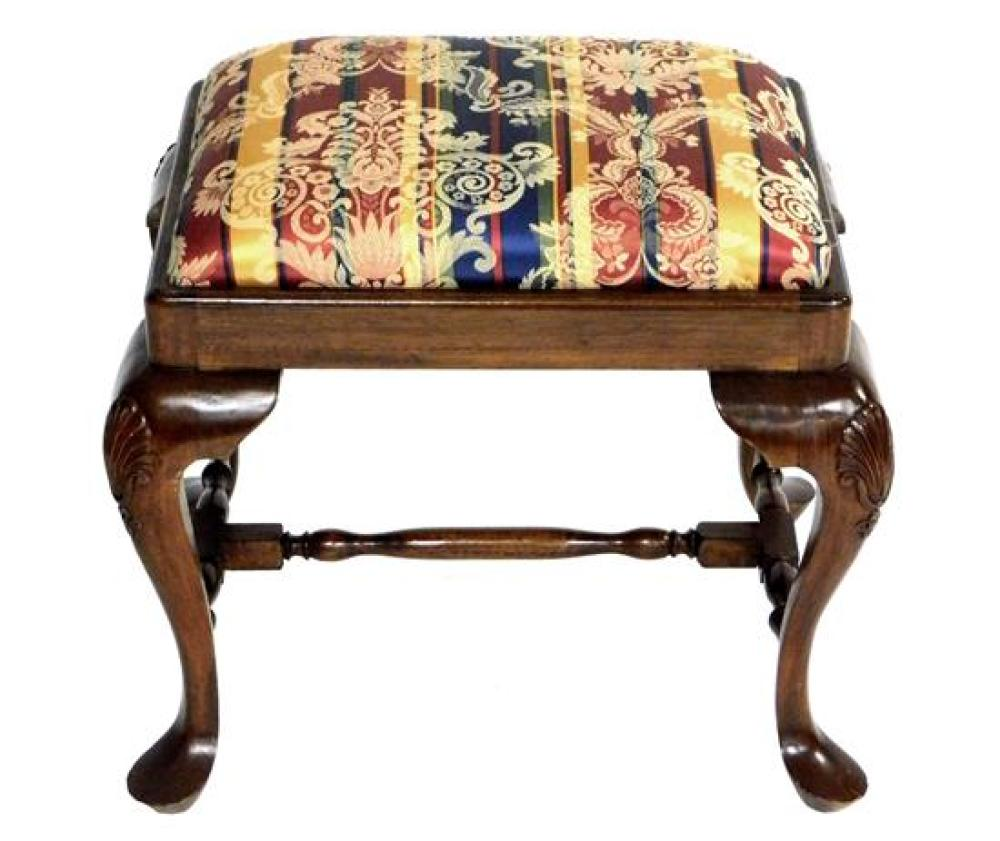 "Chippendale style stool, mahogany finish, shell carved knees over cabriole legs and pad feet, turned ""H"" stretcher bars, upholstered..."