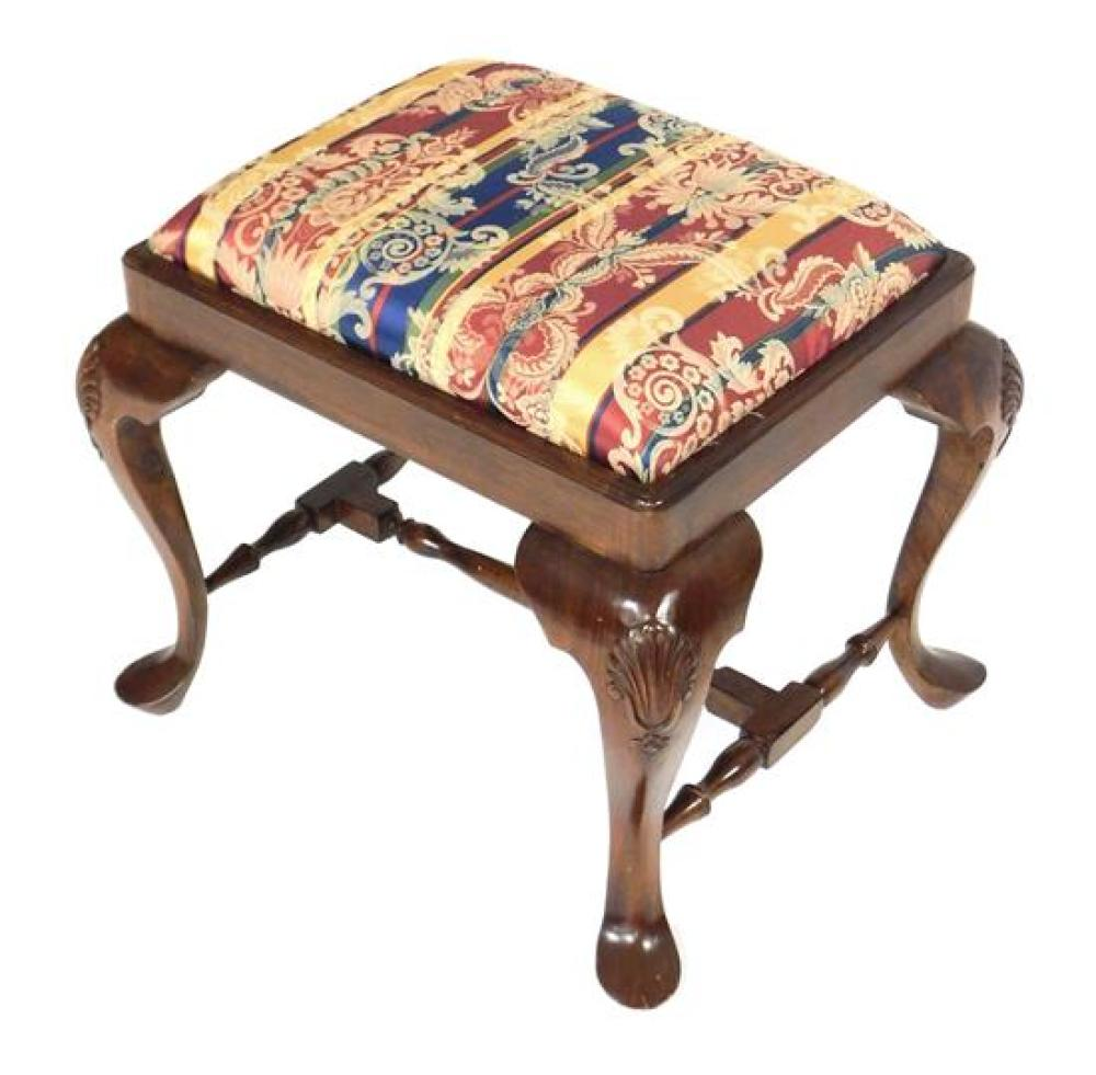 Chippendale style stool, mahogany finish, shell carved knees over cabriole legs and pad feet, turned