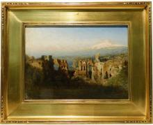 """19th/Early 20th C. oil on panel, """"Mt. Aetna from the Greek Theatre at Taormina,"""" indistinctly signed lower right, landscape with cla..."""