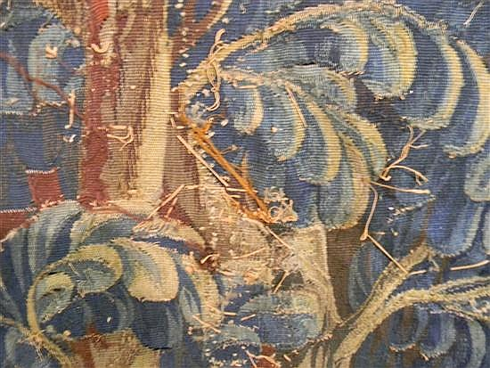 18th C. Continental tapestry, Renaissance landscape with large stand of trees in center, marsh with irises in foreground, mill with....
