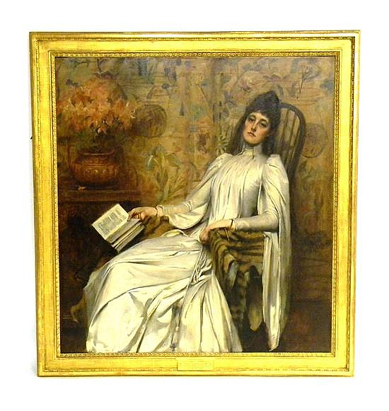 Sir James Jebusa Shannon (British/American, 1862-1923), oil on canvas, monumental portrait of a young woman, Jean Graham, reading bo...