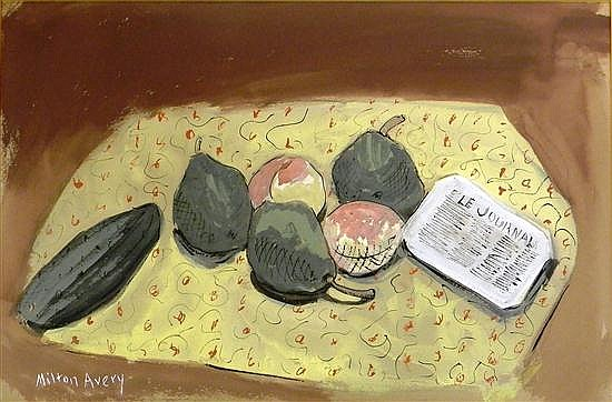 """Milton Avery, (American, 1885-1965), gouache on buff-colored paper, """"Still Life, fruit and Le Journal"""", still life of fruit and Fren..."""