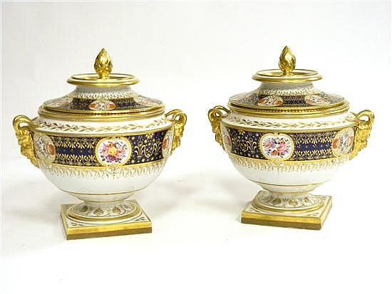 Pair covered porcelain urns, English, 19th C., Flight Bar & Bar, hard paste, mark with crown impressed over FBB, in three parts, lid...