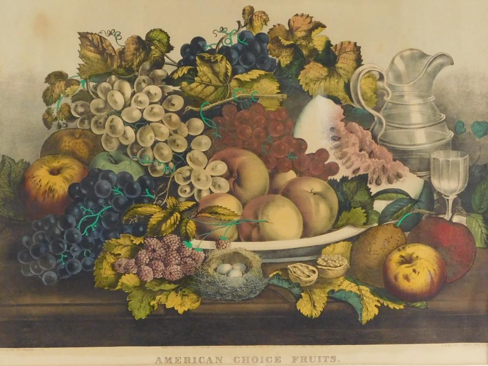 """Currier & Ives (American publisher, 1835-1907), """"American Choice Fruits"""", 1869, lithograph with hand coloring throughout, an abundan..."""