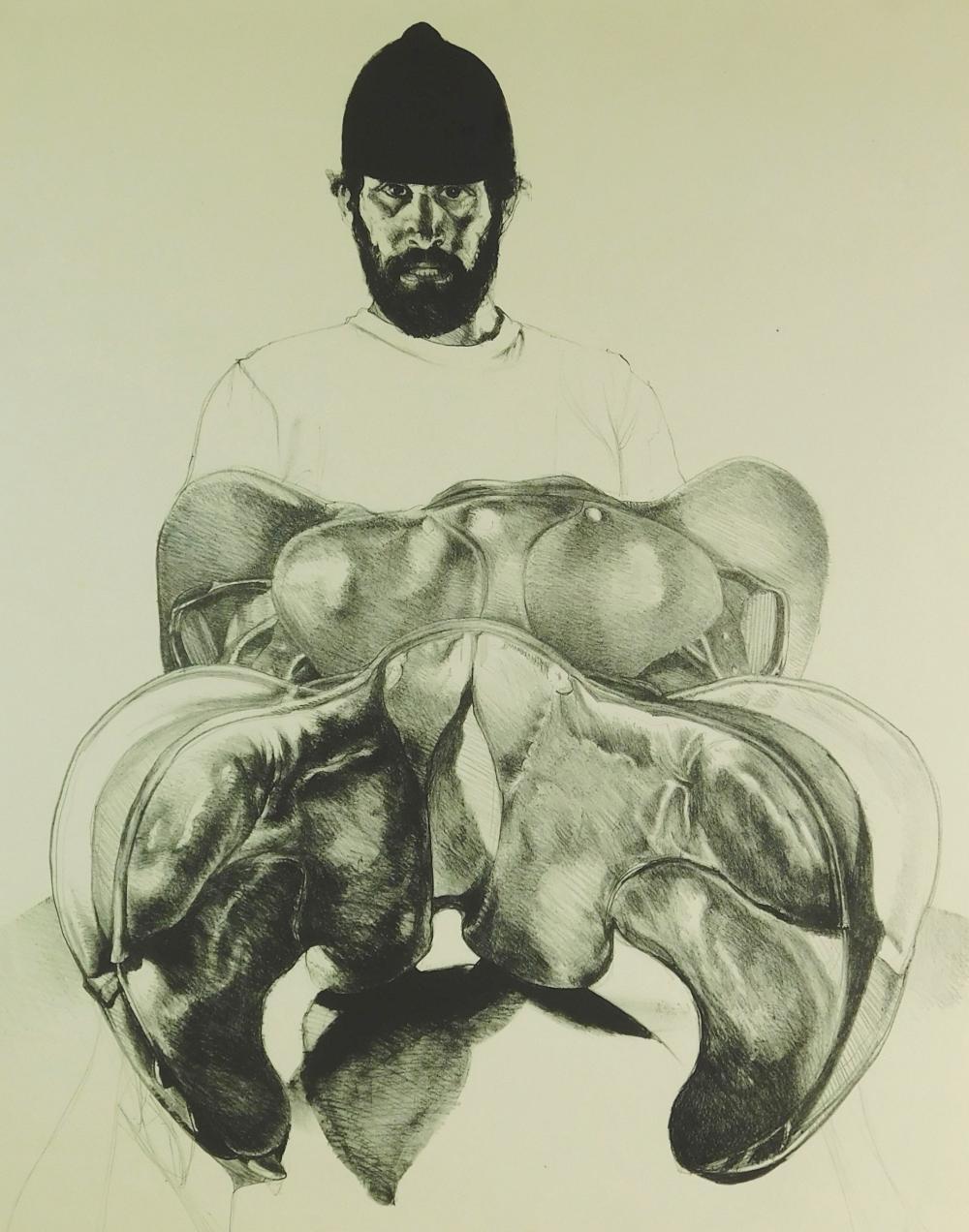 Sigmund Abeles (United States) b. 1934. Self-Portrait with Saddles. Lithograph, 1972. Ed: 50. Signed with pencil, l.r. Inscribed wit...