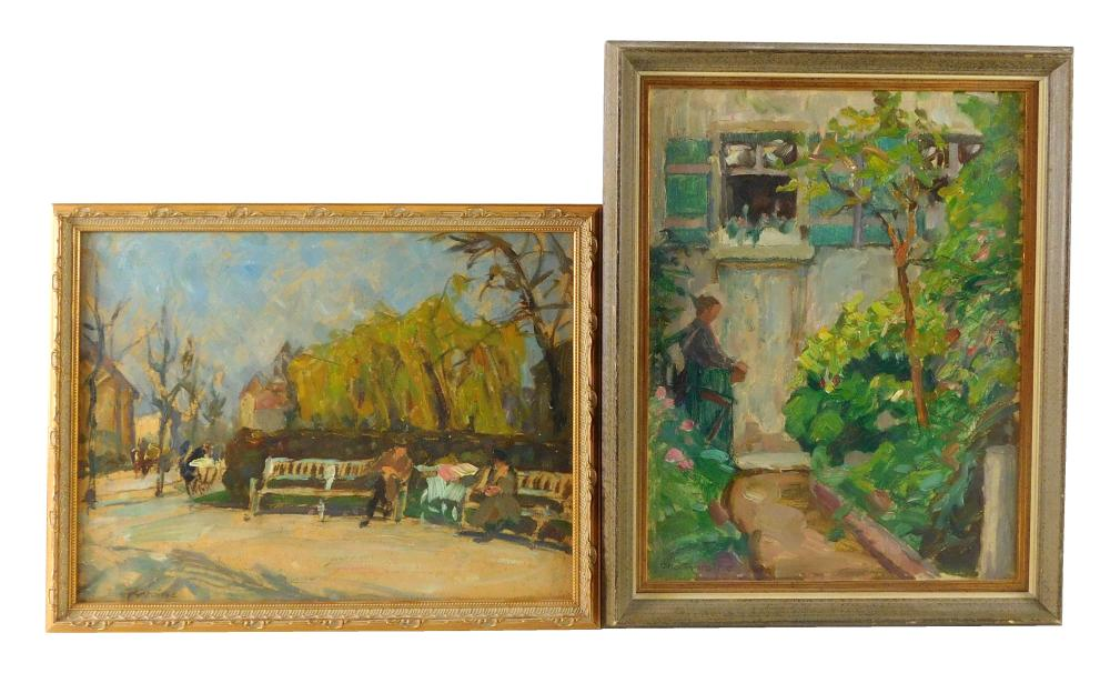 Otto Antoine (German, 1865-1951), two oils on panel, the first features two figures on park benches, wide path wraps around leading...