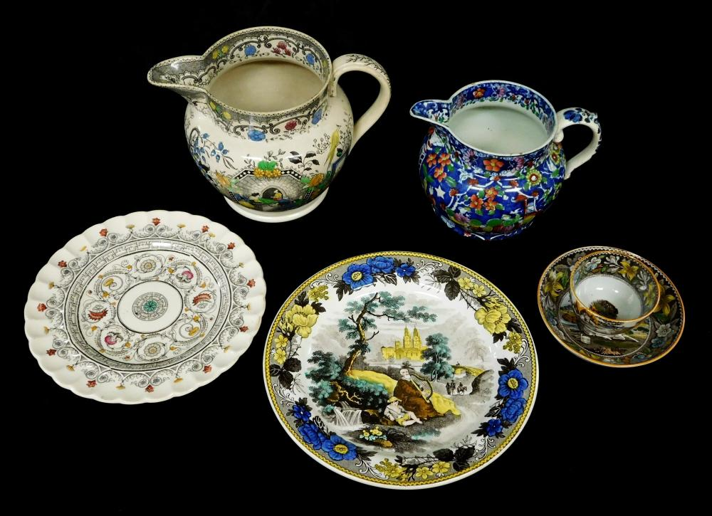 English pottery, 19th C., six pieces, all polychrome decorated, including: two pitchers/jugs, both Chinoiserie, one with blue ground...