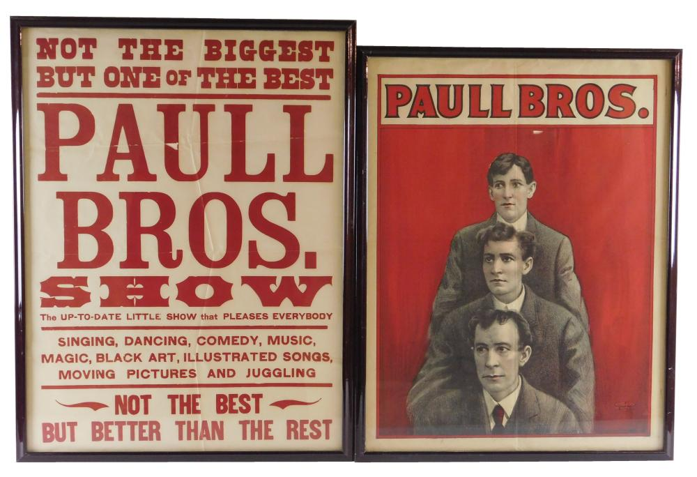 """EPHEMERA: Two """"Paul Brothers"""" framed posters, early 20th C., details include: larger an all text poster with different fonts and typ..."""