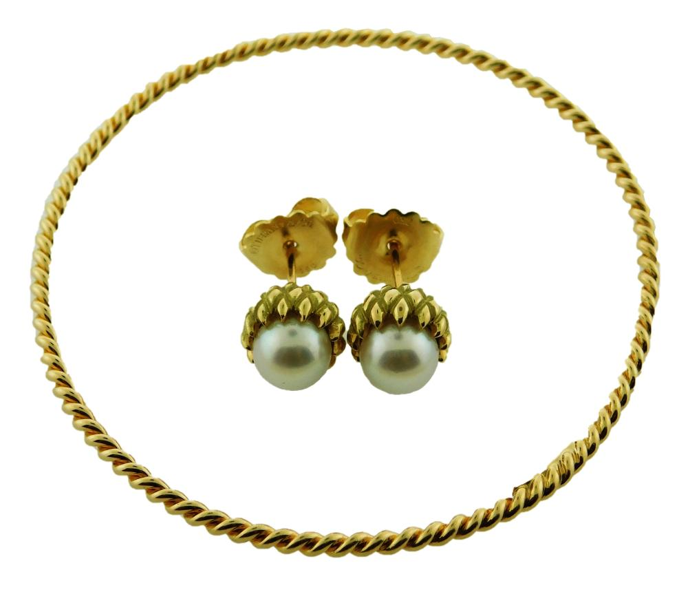JEWELRY: 18K Tiffany & Co. Bracelet and Pearl Earrings: Acorn style stud earrings by Schlumberger with friction post backs and nuts,...