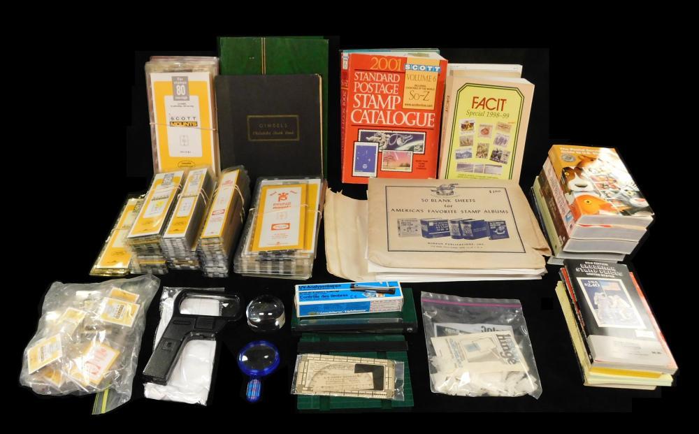 STAMPS: Box lot of stamp supplies, including: Scott mounts: mm high numbers 28, 41, 25, 31, 44, 52, 80, 63, precut 25/40; Minkus bla...