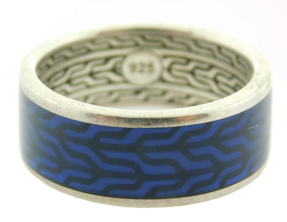 """JEWELRY: Blue Enameled John Hardy Band, stamped: """"925"""" sterling silver, width: 9mm, size: 10. [Total weight: 8.2 grams, 5.3 DWT]"""