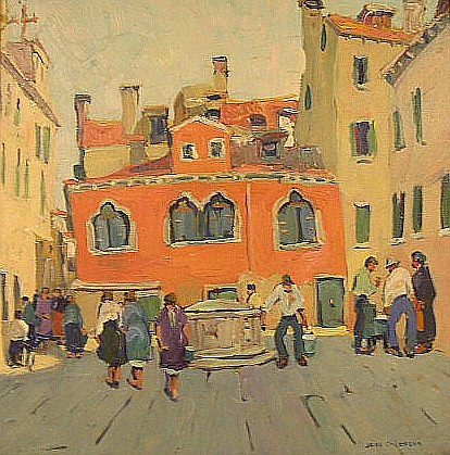 """Jane Peterson (American, 1876-1965), oil on artist's board, Mediterranean Town Square, signed LR, ss: 17 1/2"""" h. x 17 1/2"""" w., artis.."""