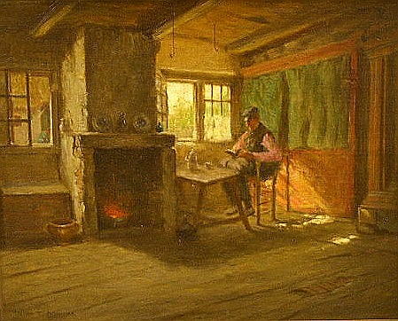 """Addison T. Millar (American, 1860- 1913), oil on canvas, Dutch interior, workman at bench, signed LL, ss: 8"""" h. x 10"""" w. [Sold to be..."""