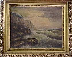 J. DuBois, 19th C. naive oil on canvas, seascape of waves crashing against rocks at base of cliff, sailboats in distance, birds in f...