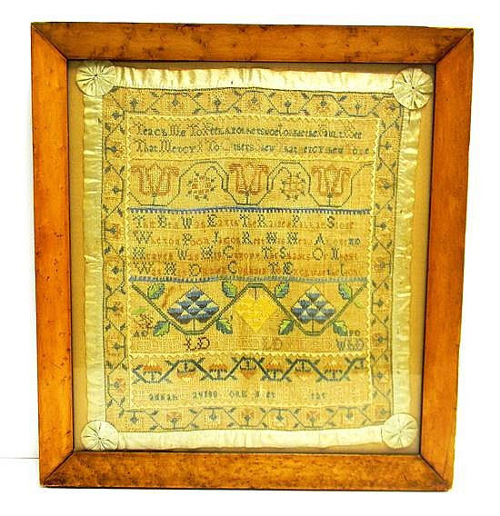 1814 Sampler by Hannah Davis of the Mid-Atlantic United States, age 13, silk on linen, sampler worked in horizontal rows, including...