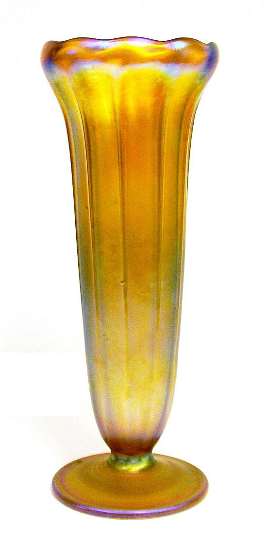 "Louis Comfort Tiffany ""Favrile"" art glass vase, iridescent gold-pink color, trumpet form, scalloped upper rim, fluted sides, inscrib..."