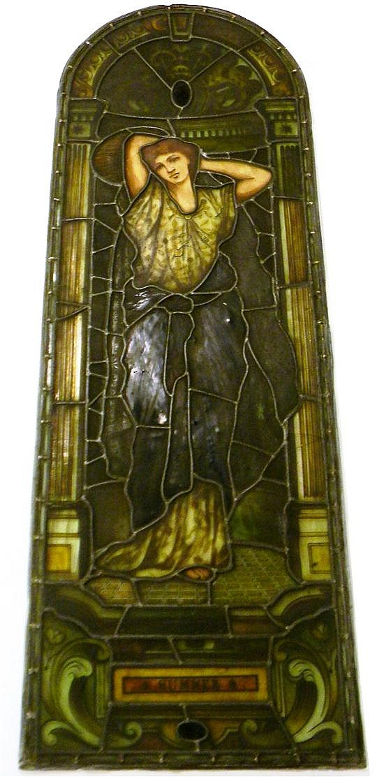 In the manner of Daniel Cottier (Scottish, 1837-1891) & Company, four leaded stained glass windows depicting allegorical female repr...