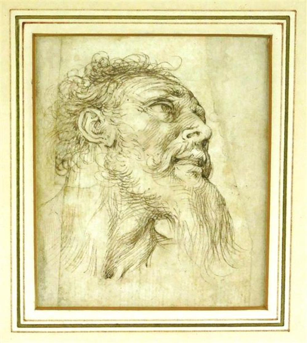 "Circle of Agostino Carracci (Bologna/Parma 1557-1602), ""Head of a Bearded Man"", brown ink and wash drawing, c. 1585, depicts a middl..."