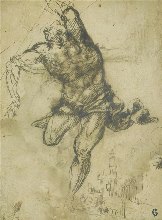 """Florentine school, late 16th/ early 17th C., """"Male athletic figure in motion; cityscape"""", loosely drawn LR, brown ink on dark cream ..."""