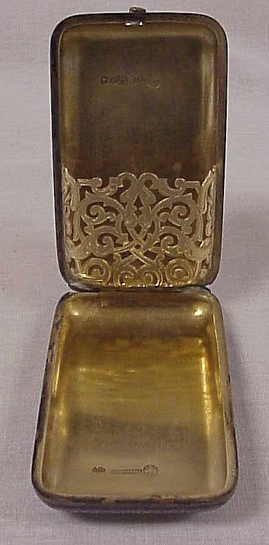 Russian silver enameled cigar box, marked 1658 on cover, marked 88 and dated 1883 on interior, maker's mark, some loss of enamel, 4t..