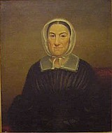Otis A. Bullard (American, New York, 1816 - 1853) oil on canvas, portrait of Abigail Martin, wearing dark dress and white cotton cap...