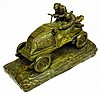 Image 1 for Xavier Raphanel (French, Early 20th C.), bronze, early race car theme, signed and stamped on base, depicts two men in an early autom...
