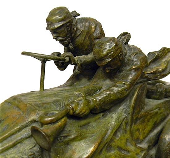 Xavier Raphanel (French, Early 20th C.), bronze, early race car theme, signed and stamped on base, depicts two men in an early autom...