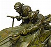Image 2 for Xavier Raphanel (French, Early 20th C.), bronze, early race car theme, signed and stamped on base, depicts two men in an early autom...