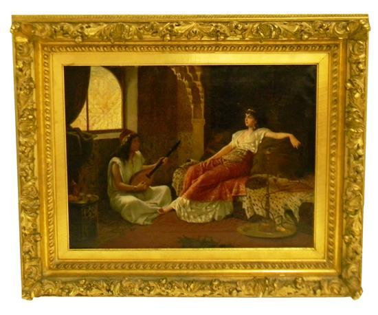 Vincent G. Stiepevich (American/Russian, 1841-1910) oil on canvas depicting Middle-Eastern scene of female figure lounging on bed co...