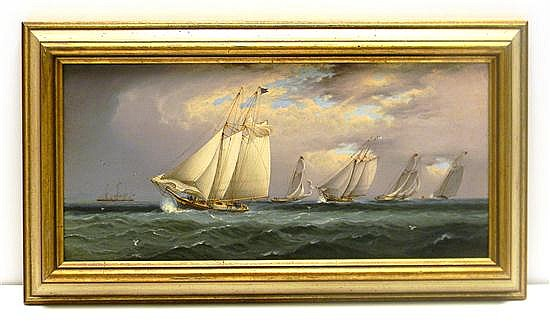 """James Edward Buttersworth (American, 1817-1894), oil on mahogany panel, signed lower right """"J.E. Buttersworth,"""" scene depicting a ya..."""