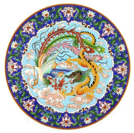 "ASIAN: Cloisonné charger, Chinese, 20th C., dragon design, wear consistent with age and use, 15 1/2"" diam."