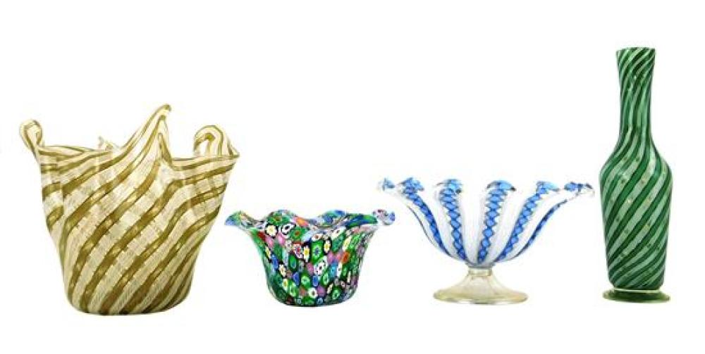 "GLASS: Four pieces of art glass, Italian 20th C., including a millefiori bowl, 5 ¾"" diam.; a handkerchief vase with latticino decora..."