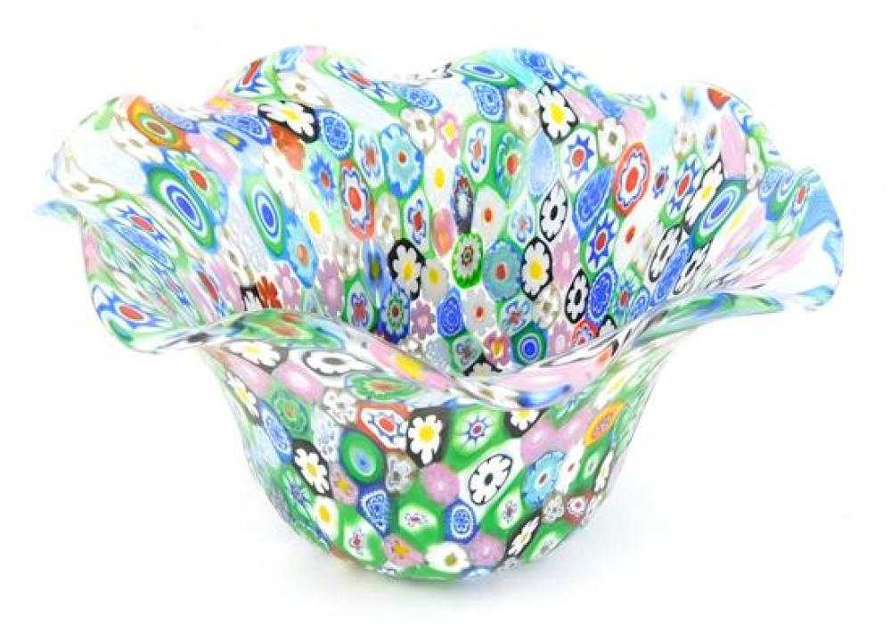 GLASS: Four pieces of art glass, Italian 20th C., including a millefiori bowl, 5 ¾