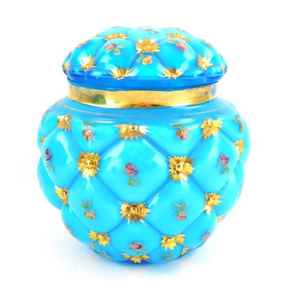 GLASS: Four blue pieces including: two contemporary art glass vases; and two Victorian pieces (a biscuit jar and small cased vase),...