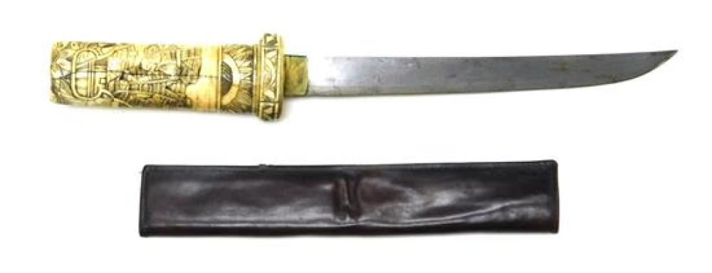ASIAN: Japanese sword and dagger, 19th/20th C., both with carved bone handles with figural decoration, the sword also with carved sc...