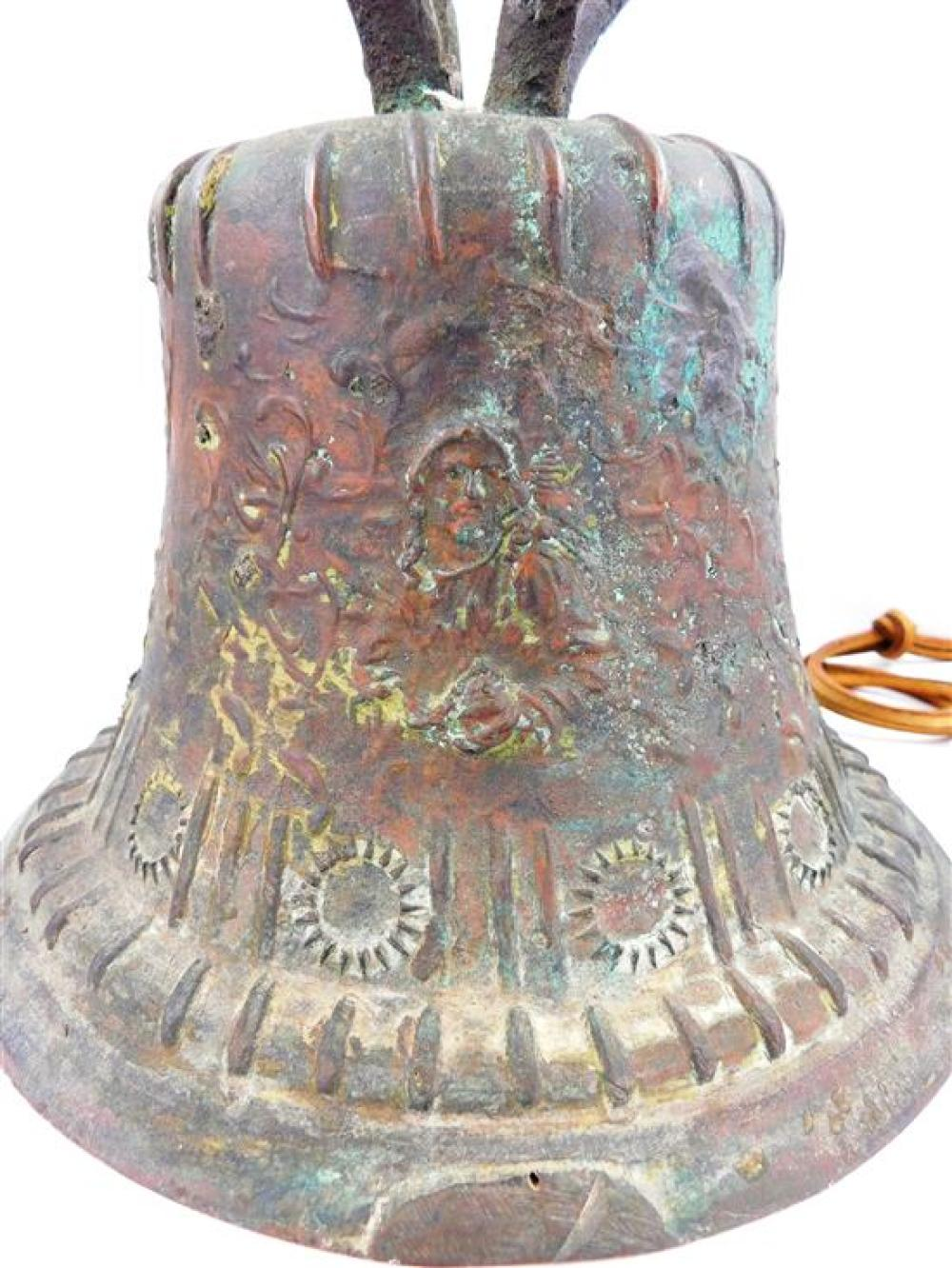 Seven bells, most bronze, probably 18th-20th C., including Continental, two Mexican mission bells, one inscribed