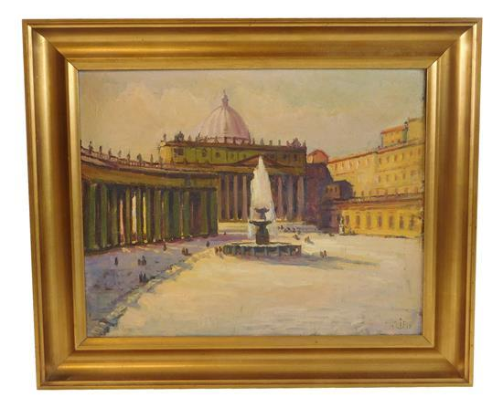 "20th C. Oil on canvas, ""Vatican"", 1938, depicts the Vatican in winter with fountain, dated and monogramed lower left ""Rom"", framed,..."