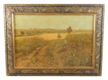 Maurice Eliot (French, 1864-1945), oil on canvas, depicts young girl in foreground sitting in field with golden fields in the distan...