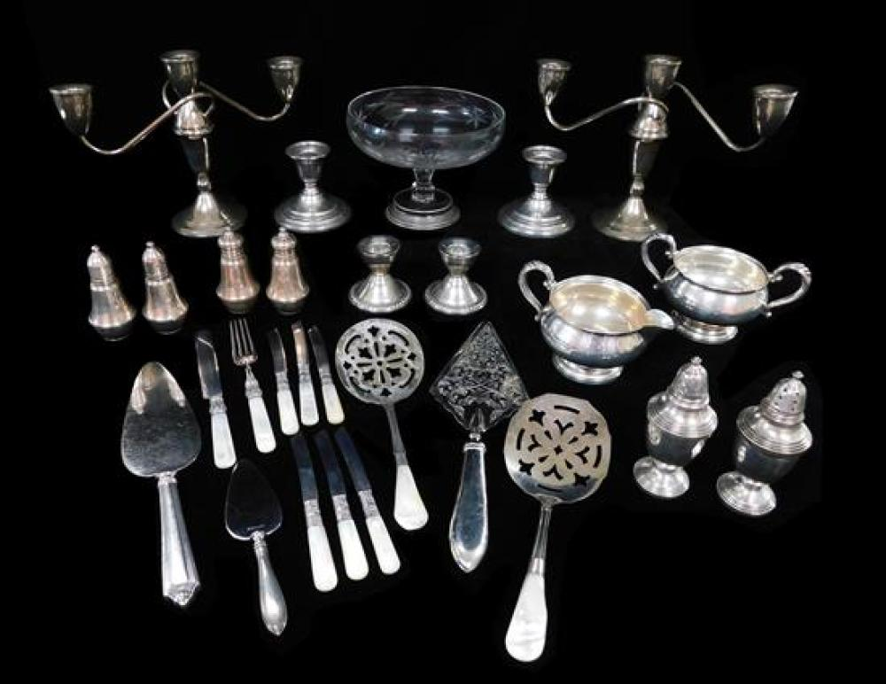 STERLING: 25+ pieces of weighted or with glass: pedestal compote; pair of three light candelabra; two pair candleholders; three sets...