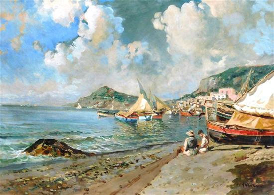 Di Angelo (Italian, 20th C.), Continental harbor scene, oil on canvas, signed lower right, depicts boats in harbor with Mediterranea...