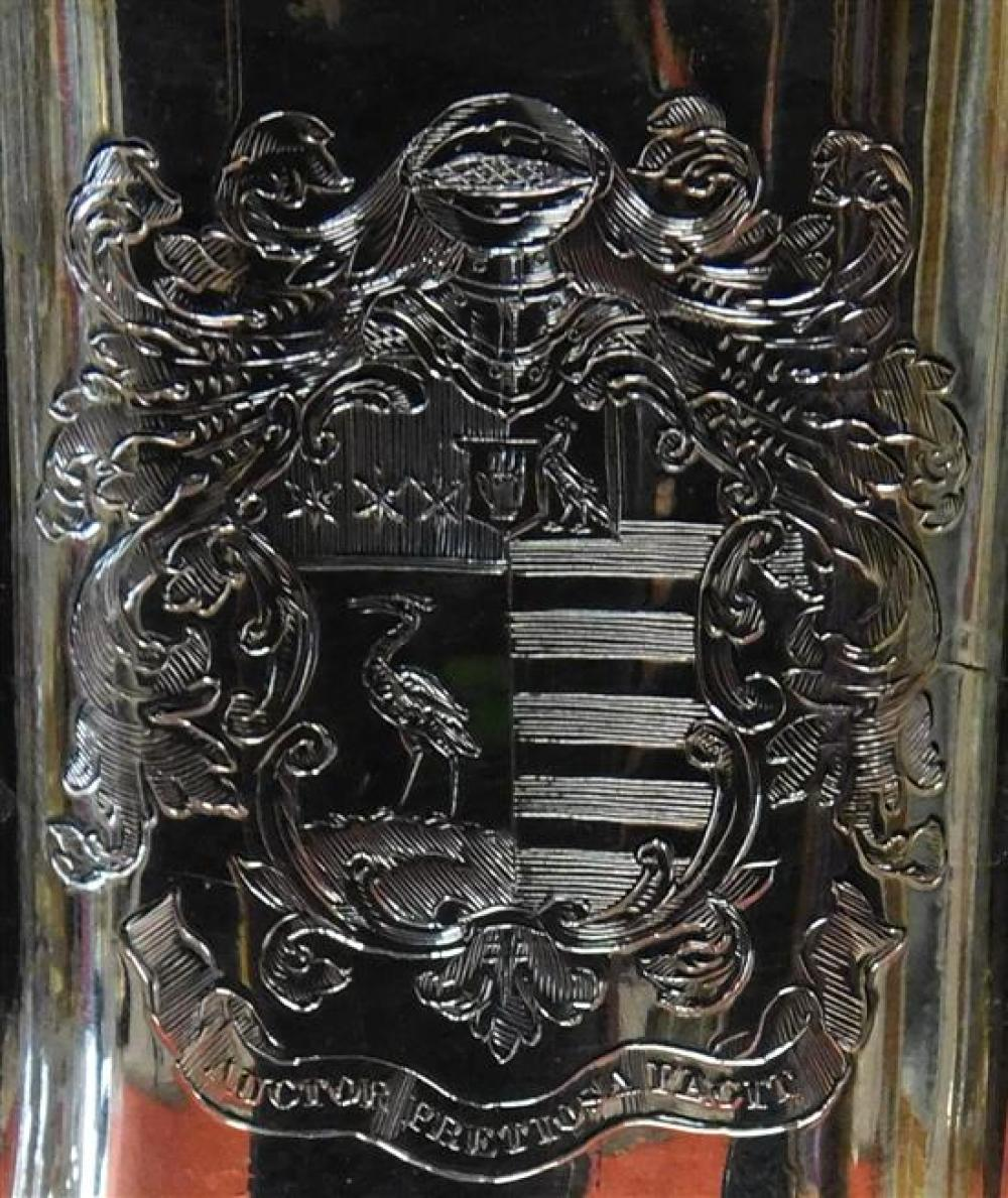 SILVER: Pair of campagna form silver-plate wine coolers and a silver-plate repousse tea caddy, details include: wine coolers with ra...