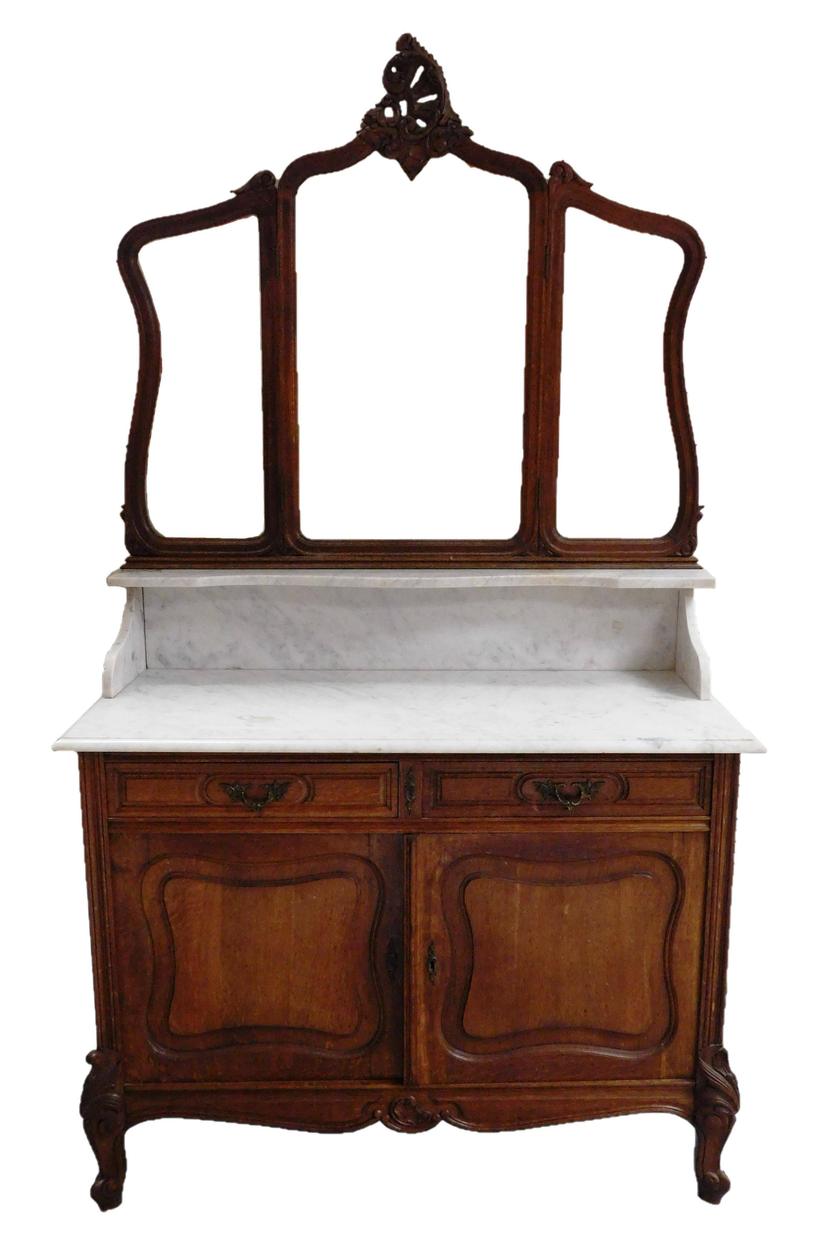 Louis XV style bureau, white marble top and back splash, beveled three section mirror, oak, dismantles into several pieces, wear con...