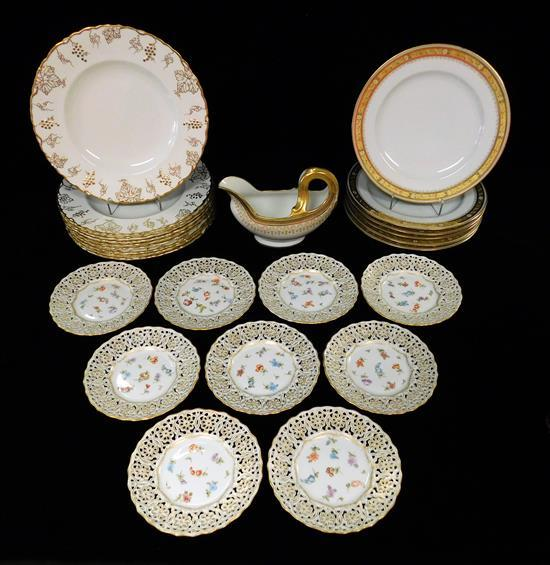 CHINA: Meissen, Royal Crown Derby, etc., 25 pieces, all marked on base, details include: nine small reticulated plates by Meissen wi...