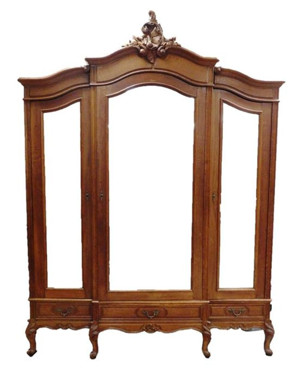 Louis XV style armoire, three doors with beveled mirrors, each above single drawer, needs to be dismantled for pickup, wear consiste...