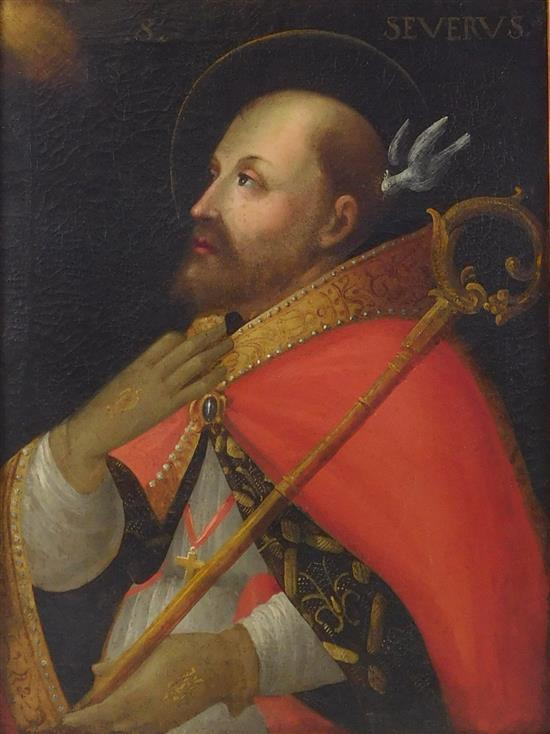 """Oil on canvas, Continental, 17th C. or later, """"St. Severus"""", titled at upper center, depicts an ornately cloaked bearded gentleman w..."""